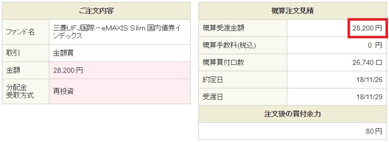 eMAXIS Slim国内債券購入20181122