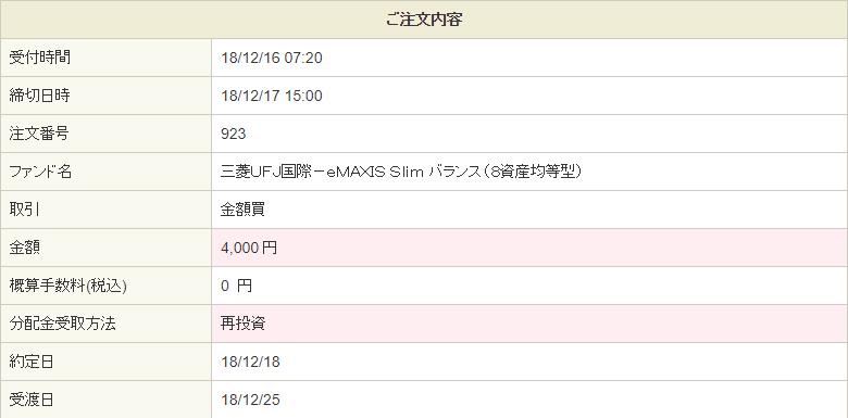 eMAXIS Slim8資産均等型を4,000円買付20181216