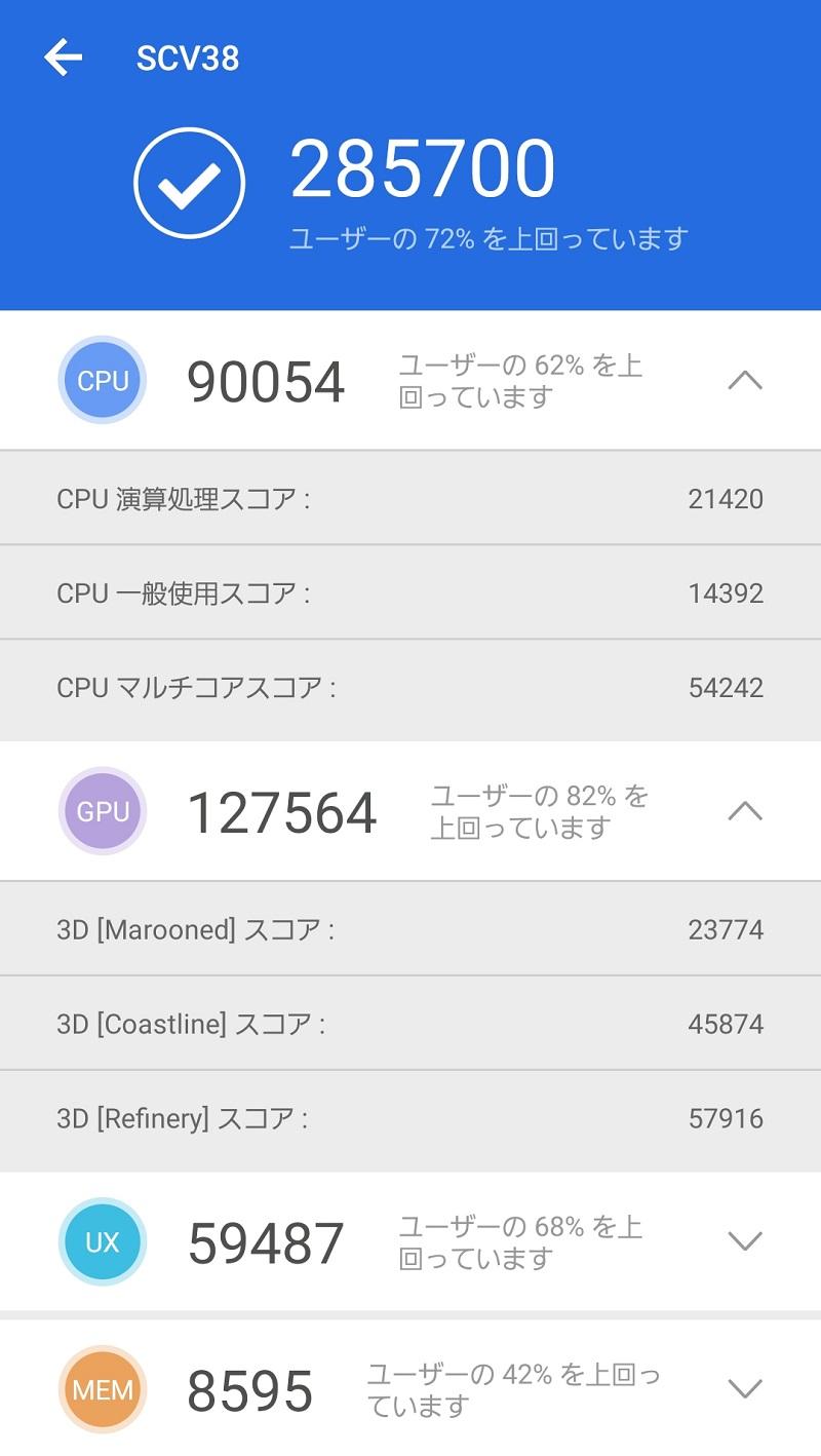 AnTuTu benchmark、SnapDoragon845、galaxy S9のスコア