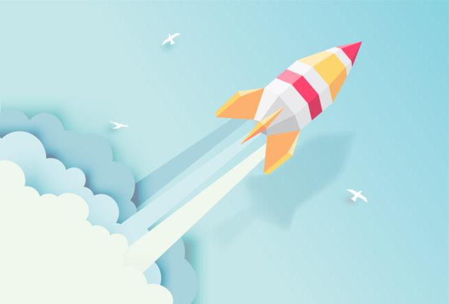 清掃圏を抜けるロケット