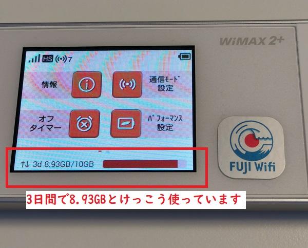 FUJI Wi-Fiの3日間データ使用量