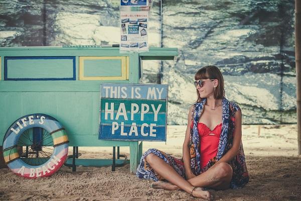 ハッピーな場所と女性