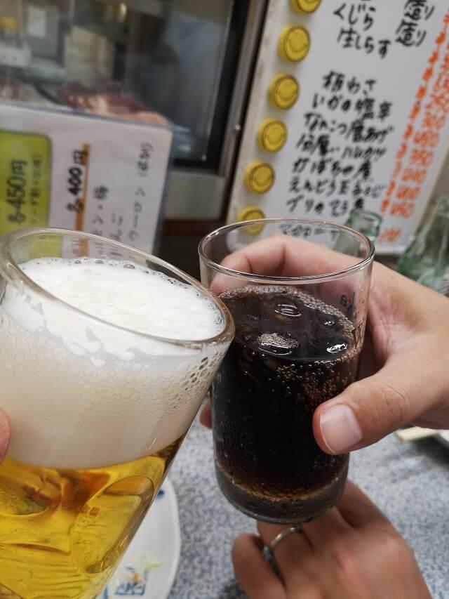 ビールとコーラで乾杯