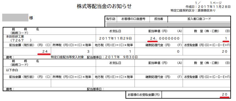 ホンダ単元未満株の配当20171129