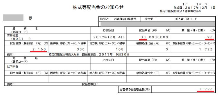 三井物産単元未満株の配当20171204
