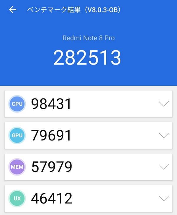 Xiomi Redmi Note 8 ProのAntutuスコアV8