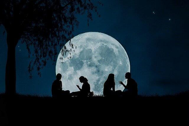 グローバル、月、集まり、夜