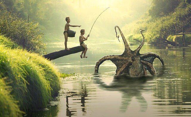 子供が変な大物を釣り上げた