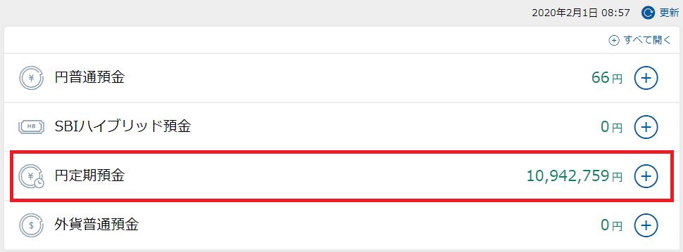 住信SBIネット銀行での無リスク資産:2020年2月1日時点