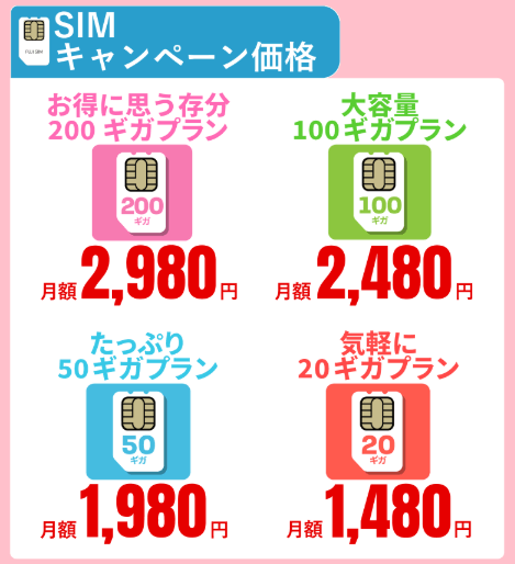 FUJIWi-Fiの月20GB1480円SIMキャンペーン価格