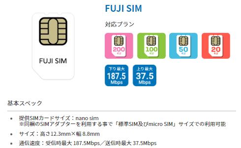 FUJI SIMのプラン