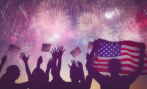 アメリカ米国旗と花火