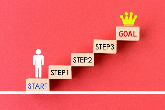 ステップを登っていく