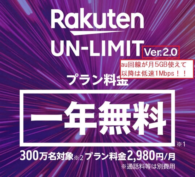 RakutenUN-LIMIT Ver2はau回線が月5GB、低速1Mbpsが使える