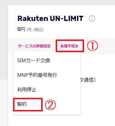 PC、ブラウザからの楽天UN-LIMIT解約方法③各種手続き→解約