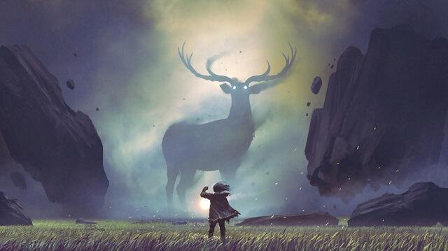幻想的な鹿