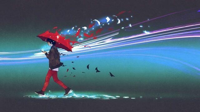 幻想的な傘を差した青年と光の文様