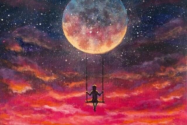 幻想的な月とブランコと子供