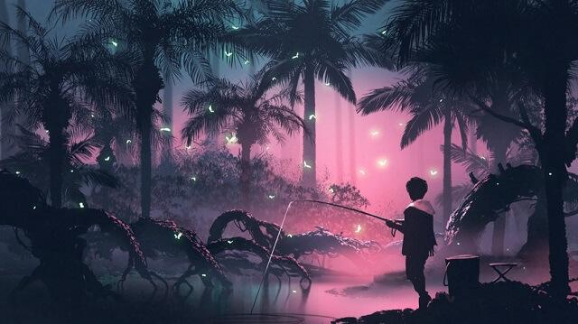 幻想的|蝶々と釣りをする少年と明かり