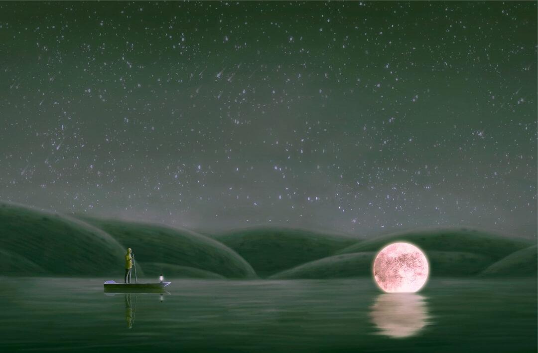 幻想的|月と船