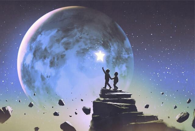 幻想的|月と星を指さす子供たち