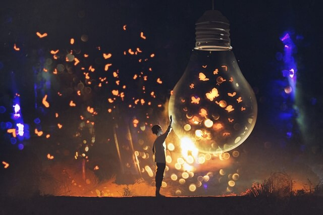 幻想的|電球と蝶と青年