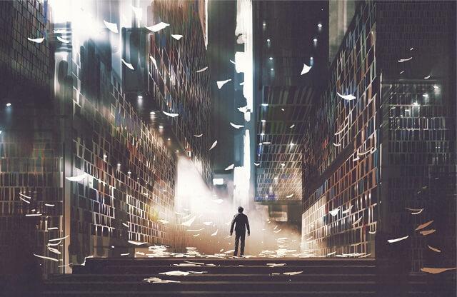 幻想的 図書館と光と男性
