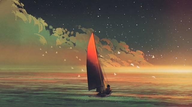 幻想的|ヨットと海と男性