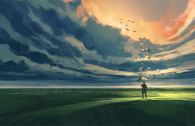 幻想的|傘と鳥と男性